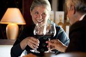 Senior couple drinking wine at the restaurant