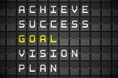 Goal buzzwords on digitally generated black mechanical board