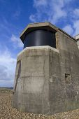 stock photo of emplacements  - Searchlight emplacement from the second world war with modern screen over emplacement - JPG