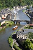 Medieval city of Dinan and his gothic bridge on the Rance, Brittany, France