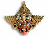 stock photo of sinhala  - Cobra devil mask from Sri Lanka isolated on the white - JPG