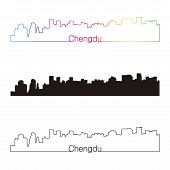 Chengdu Skyline Linear Style With Rainbow