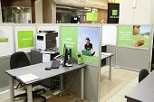 Burnaby BC Canada - April 28 2014 : H&R Block is a tax preparation company in the United States, claiming more than 24.5 million tax returns prepared worldwide. Small office inside mall.