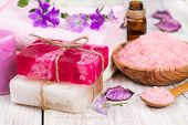 Handmade Soap, Salt Shower And Flower.