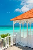 Beautiful wooden terrace with a view of Varadero beach in Cuba