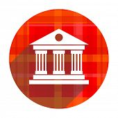 museum red flat icon isolated
