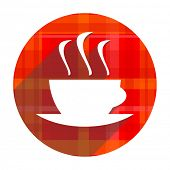 espresso red flat icon isolated