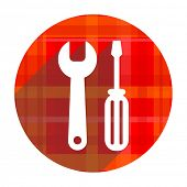tools red flat icon isolated