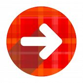 right arrow red flat icon isolated