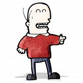 cartoon bald man pointing and laughing
