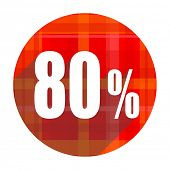 80 percent red flat icon isolated