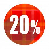 20 percent red flat icon isolated