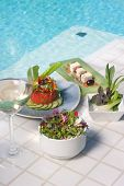 Healthy Vegetarian Meal With White Wine Served Poolside