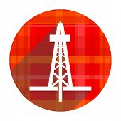 drilling red flat icon isolated