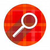 search red flat icon isolated