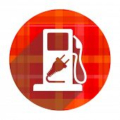 fuel red flat icon isolated
