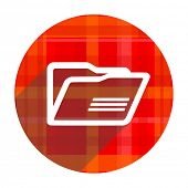 folder red flat icon isolated