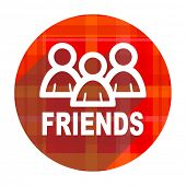 friends red flat icon isolated