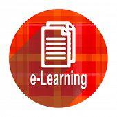 learning red flat icon isolated