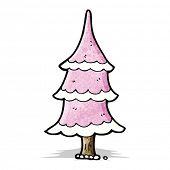 cartoon pink christmas tree