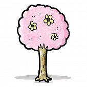 decorative pink tree cartoon