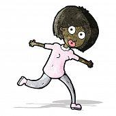 cartoon frightened woman running