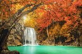 picture of cataract  - Erawan Waterfall in Kanchanaburi province Thailand  - JPG