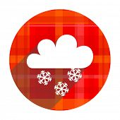 snowing red flat icon isolated