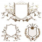 shield design set with various shapes and decoration