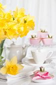stock photo of tea party  - Mothers day tea party with pretty cupcakes - JPG