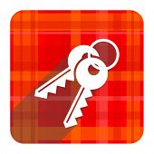 keys red flat icon isolated