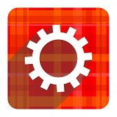 gear red flat icon isolated