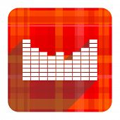 sound red flat icon isolated