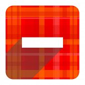 minus red flat icon isolated