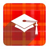 education red flat icon isolated