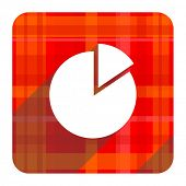 chart red flat icon isolated