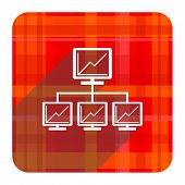 network red flat icon isolated