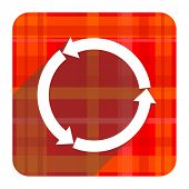 refresh red flat icon isolated