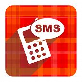 sms red flat icon isolated
