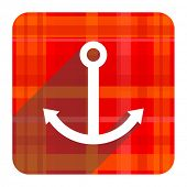 anchor red flat icon isolated