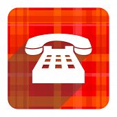 phone red flat icon isolated
