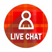 live chat red flat icon isolated