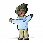 cartoon man in windy weather