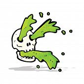 cartoon spurting slime skull