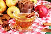 image of cider apples  - Composition of  apple cider with cinnamon sticks - JPG
