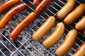 Sausages on barbecue grill, close-up