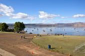 Orange Cones Marking Course Of Triathlon At Midmar Dam