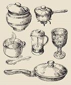 hand drawn kitchen set