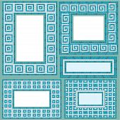Set Of Vertical And Horizontal Rectangular Frames With Mosaic Pattern - Blue Ceramic Tiles - Classic