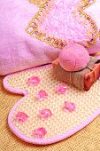 Pink Bath Towel, Natural Soap, Bomb Salt